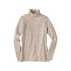 Lands' End - Cream women's petite fitted cotton/modal striped roll neck