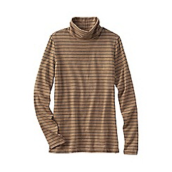 Lands' End - Brown petite fitted cotton/modal striped roll neck top