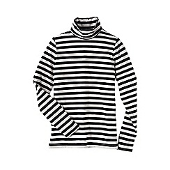 Lands' End - Black women's petite fitted cotton/modal striped roll neck