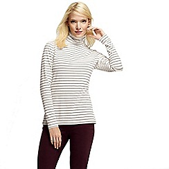 Lands' End - Multi women's petite fitted cotton/modal striped roll neck top