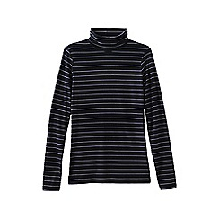Lands' End - Black women's plus fitted cotton/modal striped roll neck