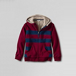 Lands' End - Red boys' striped sherpa-lined hoodie