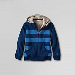 Lands' End - Blue boys' striped sherpa-lined hoodie