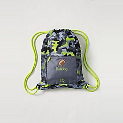 Lands' End - Grey boys' camo print drawstring gym bag
