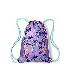 Lands' End - Blue girls' patterned drawstring gym bag