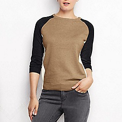 Lands' End - Beige women's supima raglan sleeve colourblock jumper