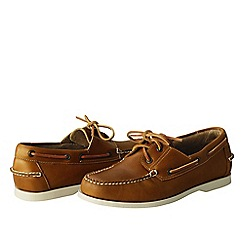 Lands' End - Brown men's hand-sewn boat shoes