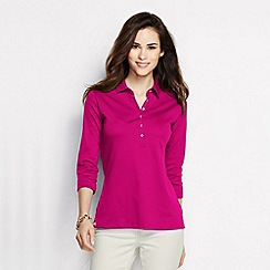 Lands' End - Red women's slim fit three-quarter sleeve plain pima polo