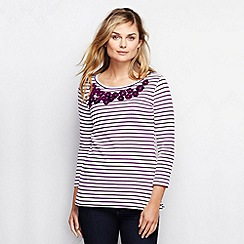 Lands' End - Purple women's striped embellished top