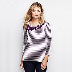 Lands' End - Purple women's striped embellished top