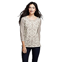 Lands' End - Beige flocked print sweatshirt