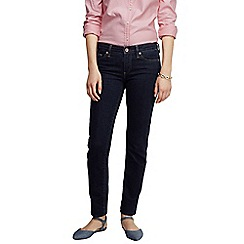 Lands' End - Blue women's low rise dark indigo wash slim leg jeans