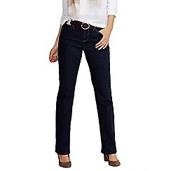 Lands' End - Blue women's mid rise dark indigo bootcut jeans