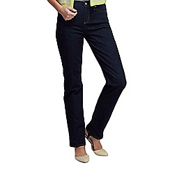 Lands' End - Blue petite dark indigo high rise straight leg jeans
