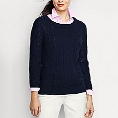 Lands' End - Blue women's lofty blend three-quarter sleeve cable pullover