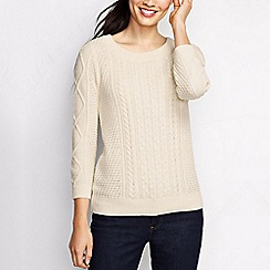 Lands' End - Cream women's lofty blend three-quarter sleeve cable pullover
