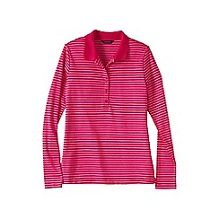 Lands' End - Pink women's slim fit long sleeve stripe pima polo