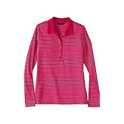 Lands' End - Pink slim fit long sleeve stripe pima polo