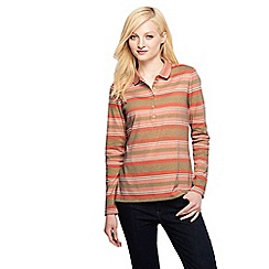 Lands' End - Multi women's slim fit long sleeve stripe pima polo