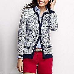 Lands' End - Cream women's supima pocket cardigan