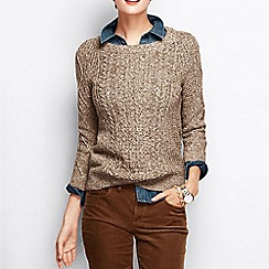Lands' End - Red women's lofty blend three-quarter sleeve marl cable pullover
