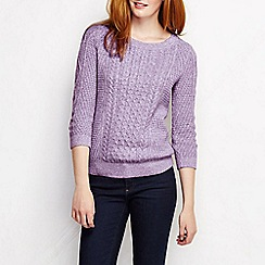 Lands' End - Purple women's lofty blend three-quarter sleeve marl cable pullover