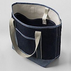 Lands' End - Blue denim medium open top tote bag