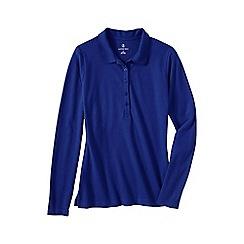 Lands' End - Blue slim fit long sleeve pique polo