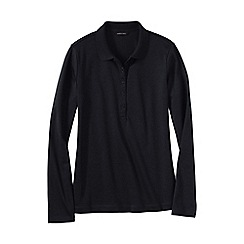 Lands' End - Black women's regular slim fit long sleeve pima polo