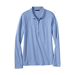 Lands' End - Blue women's regular slim fit long sleeve pima polo