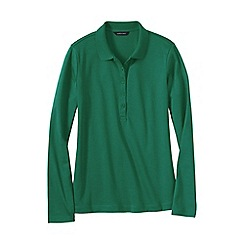 Lands' End - Green women's regular slim fit long sleeve pima polo
