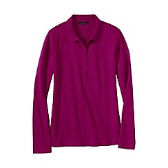 Lands' End - Pink women's regular slim fit long sleeve pima polo