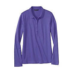 Lands' End - Purple women's regular slim fit long sleeve pima polo