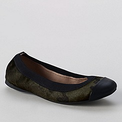 Lands' End - Green women's eliza calf hair ballet pumps