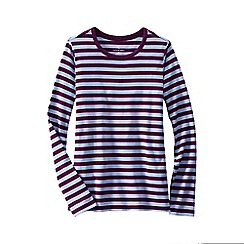 Lands' End - Red women's regular long sleeve shaped crew neck stripe tee