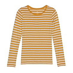 Lands' End - Gold regular long sleeve shaped crew neck stripe tee