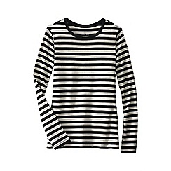 Lands' End - Black women's regular long sleeve shaped crew neck stripe tee