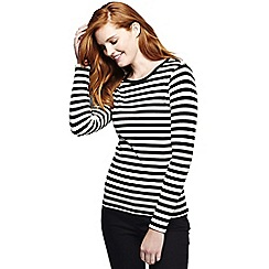 Lands' End - Black women's tall long sleeve shaped crew neck stripe tee