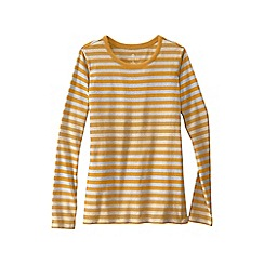 Lands' End - Gold women's plus long sleeve shaped crew neck stripe tee