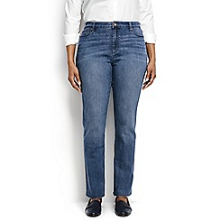 Lands' End - Blue plus dark indigo mid rise straight leg jeans