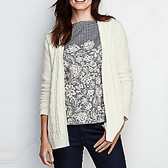 Lands' End - Cream women's drifter cable drape cardigan