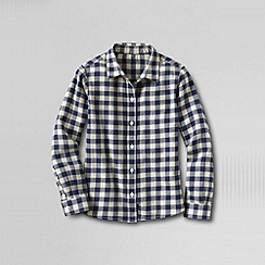 Lands' End - Blue girls' long sleeve woven flannel shirt