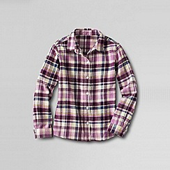Lands' End - Pink girls' long sleeve woven flannel shirt