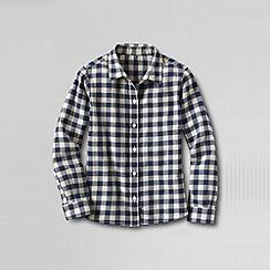 Lands' End - Blue girls' long sleeve woven flannel shirt
