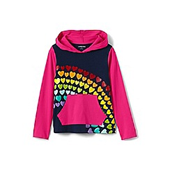 Lands' End - Girls' blue graphic super-t jersey hoodie