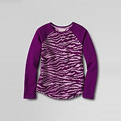 Lands' End - Purple girls' patterned loopback jersey sweatshirt