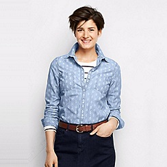 Lands' End - Pink women's patterned chambray shirt