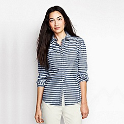 Lands' End - Blue women's patterned chambray shirt