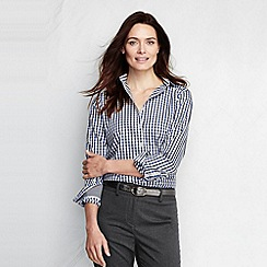 Lands' End - Blue women's tattersall plaid supima non-iron shirt