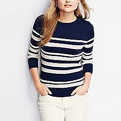 Lands' End - Cream women's supima textured stripe jumper